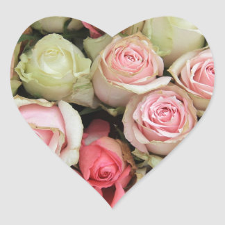 Pink roses by Therosegarden Heart Sticker