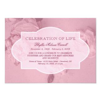 Pink Roses Celebration of Life Card