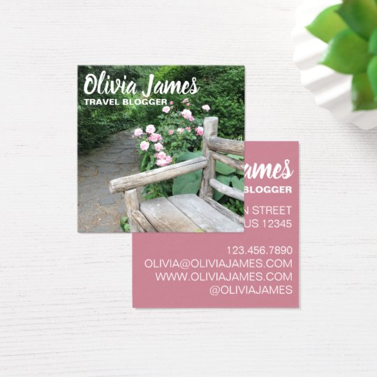Pink Roses Central Park Garden Photography NYC Square Business Card