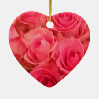 Pink Roses Ceramic Heart Decoration
