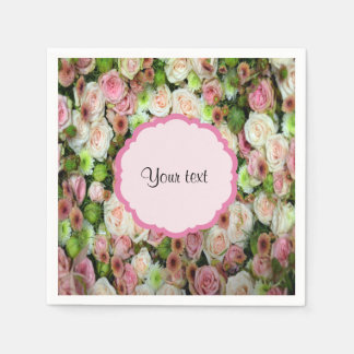 Pink  Roses & Chrysanthemums Paper Serviettes