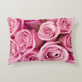 Pink roses decorative pillow