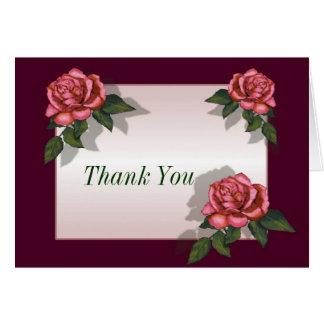 Pink Roses Deep Pink Border Thank You Greeting Card