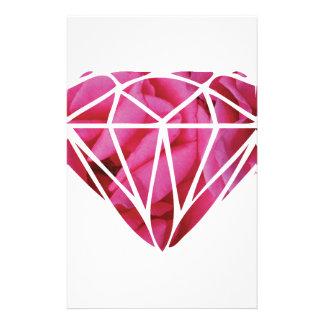 Pink roses diamond customized stationery