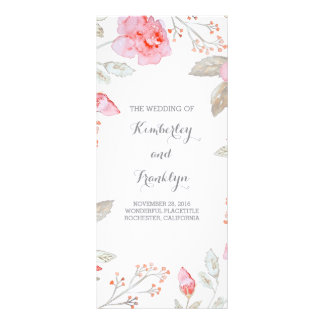 Pink Roses Elegant Watercolor Wedding Programs Rack Card Design