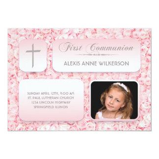 Pink Roses FIrst Communion Photo 13 Cm X 18 Cm Invitation Card