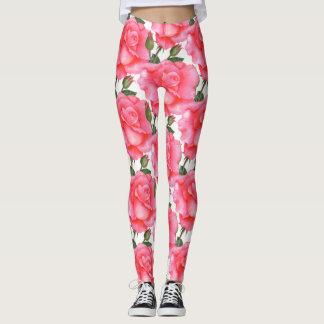 Pink Roses Floral Art Leggings
