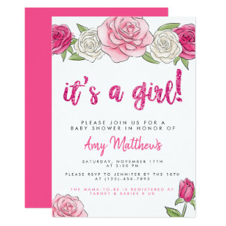 Pink Roses Floral Baby Shower Invitation