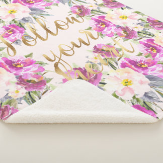 Pink Roses Floral Gold Follow Your Heart Sherpa Blanket
