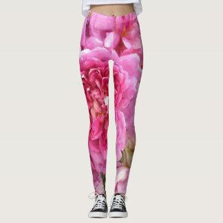 Pink Roses, Floral Leggings