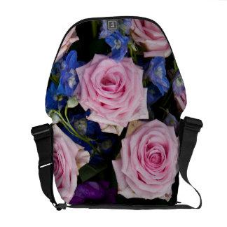 Pink roses floral messenger bag