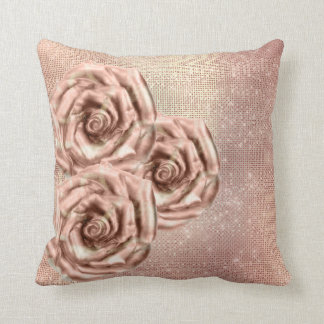 Pink Roses Flower Gold Copper Sequin Grill Cushion