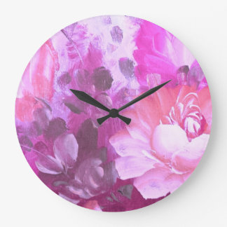 Pink Roses Flowers Vintage Watercolor Art Clock