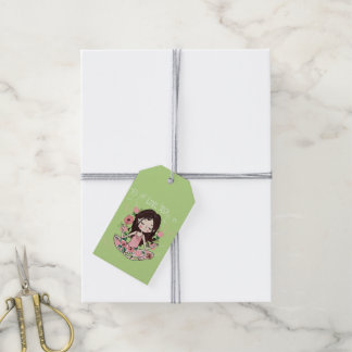 Pink Roses Girl Loves Yoga Gift Tags
