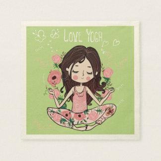 Pink Roses Girl Loves Yoga Paper Napkin