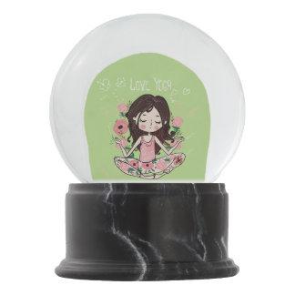 Pink Roses Girl Loves Yoga Snow Globe