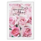 Pink Roses Happy Birthday Mimi Card