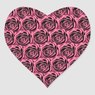 Pink Roses Heart Sticker