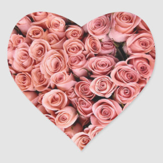 Pink Roses Heart Stickers