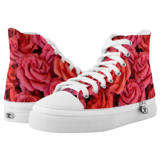 Pink Roses High Top Shoes Printed Shoes
