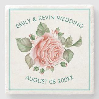 Pink Roses Illustration Wedding Template Stone Coaster