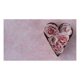 pink roses in a heart-shaped cookie cutter pack of standard business cards