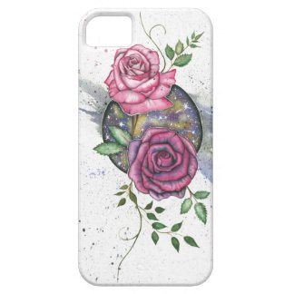 Pink roses in space, iPhone case