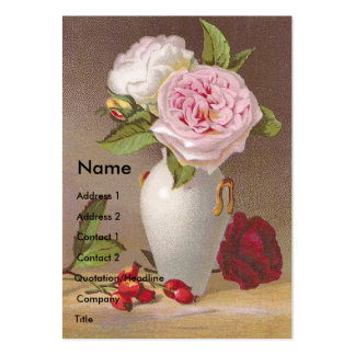 Pink Roses in White Vase Victorian Trade Card Business Card Template