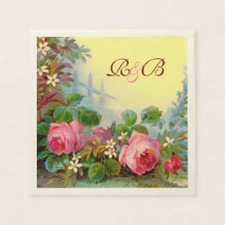 PINK ROSES,JASMINES FLORAL WEDDING MONOGRAM Yellow Paper Serviettes