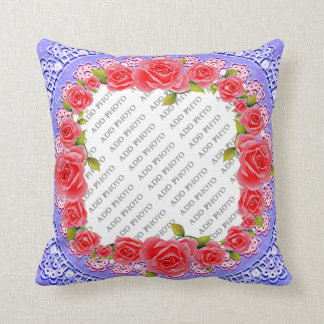 Pink Roses, Lace, Blue Background Add Photo Pillow