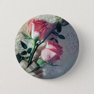 Pink roses lace wedding love 6 cm round badge