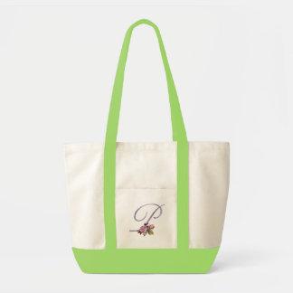 Pink Roses Monogram P Impulse Tote Bag