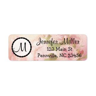 Pink Roses  Monogrammed Return Address Labels
