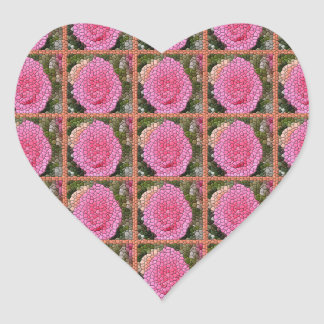 Pink Roses Mosaic Art Squares Heart Stickers