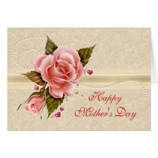 Pink Roses Mother's Day Note Card