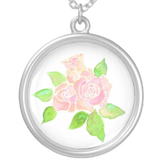 Pink Roses Necklace: June Birth Month Flower Silver Plated Necklace