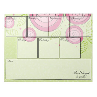 Pink Roses Notepad Weekly Planner