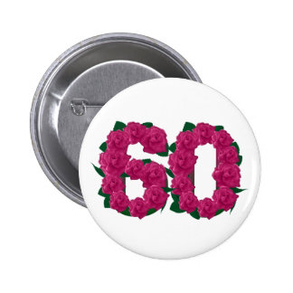 pink roses number 60 60th floral 6 cm round badge