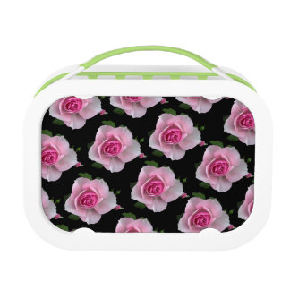 pink roses on black lunch box