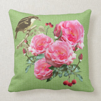 Pink Roses on Green Nature Throw Pillow
