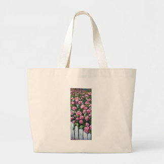 pink roses on picket fence canvas bags