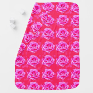 Pink Roses On Pink Bokeh Background, Baby Blanket