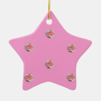 Pink Roses on Pink Ceramic Ornament
