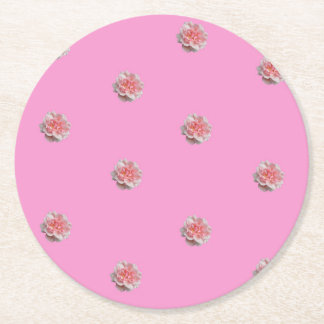 Pink Roses on Pink Round Paper Coaster