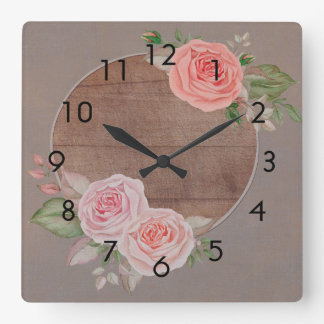 Pink Roses on Rustic Brown Wood Wall Clock