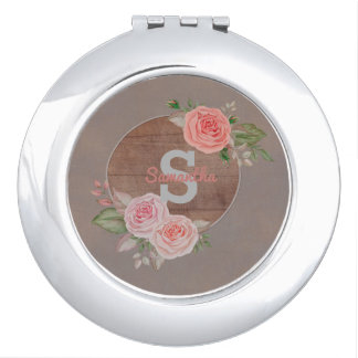Pink Roses on Rustic Wood Monogram Mirror For Makeup