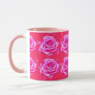 Pink Roses On Sparkle Pink Bokeh,-Pink Coffee Mug