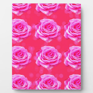 Pink Roses On Sparkle Pink Bokeh,- Plaque