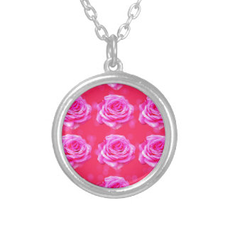 Pink Roses On Sparkle Pink Bokeh,- Silver Plated Necklace