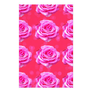 Pink Roses On Sparkle Pink Bokeh,- Stationery